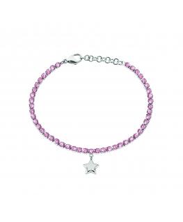 Bracciale Sector Tennis rosa / stella 16+3 cm