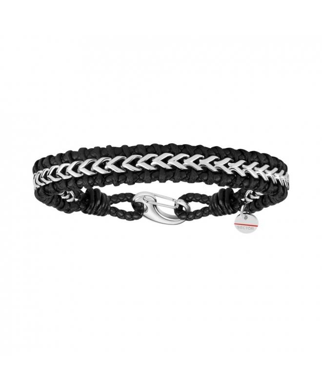 Sector Gioielli Bandy br. ss chain & black leather - galleria 1