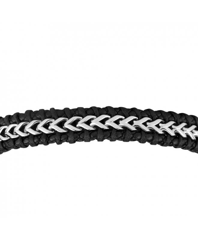 Sector Gioielli Bandy br. ss chain & black leather - galleria 2