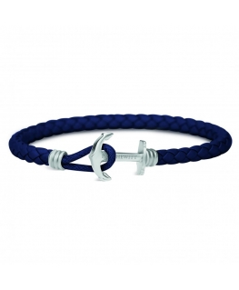 Paul Hewitt Bracelet bonded leather navy blue