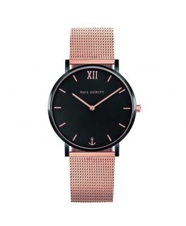 Paul Hewitt Watch sailor line black dial mesh rg