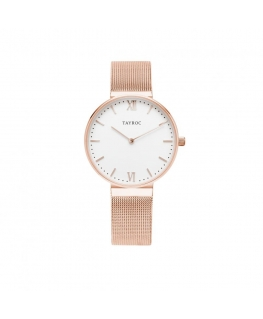Tayroc Orol signature white dial rose gold br