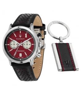 Maserati Legend 42mm chr d.red dial blk st