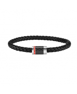 Sector Bandy br. blk braided leather closure ss