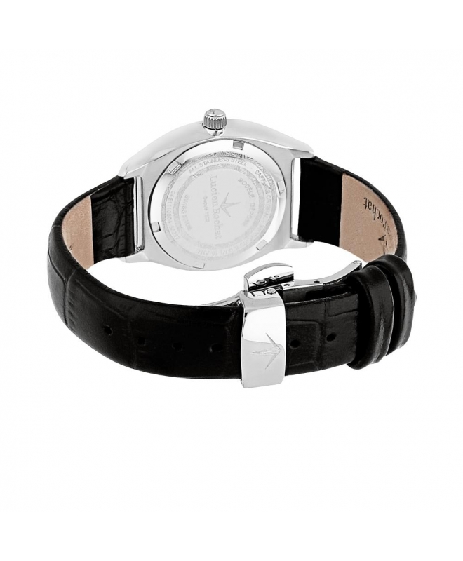 Lucien Rochat Lunel 32mm 3h cool gray dial black strap - galleria 2