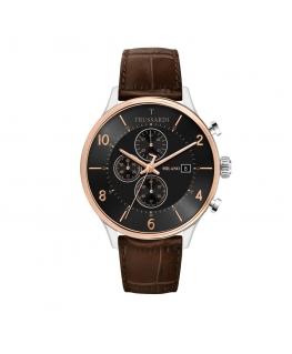 Trussardi T-complicity 45mm chr blk dial brown st