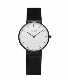 Tayroc Watch signature white dial matte black b