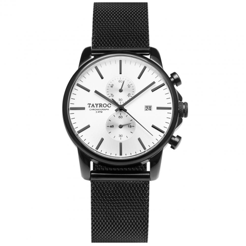 Tayroc Watch iconic white dial matte black br