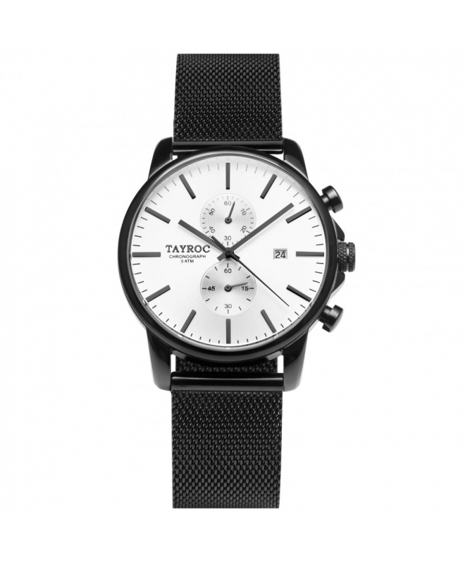 Tayroc Watch iconic white dial matte black br - galleria 1