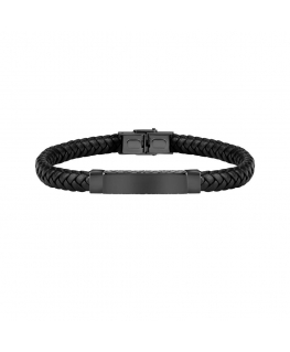 Sector Bandy br. blk braided leather ip blk tag