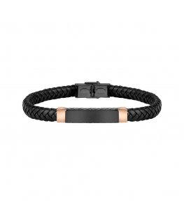 Sector Bandy br. blk braided leather blk+rg tag