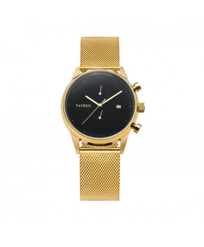 Tayroc Orol boundless black dial gold br - galleria 1