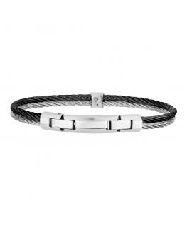 Bracciale Breil Cable uomo acciaio / nero