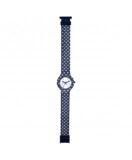 Orologio Hip Hop Jeans Pois blu / bianco - 32 mm