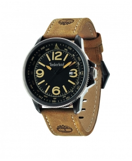 Timberland Caswell 3 hands date tan leather strap
