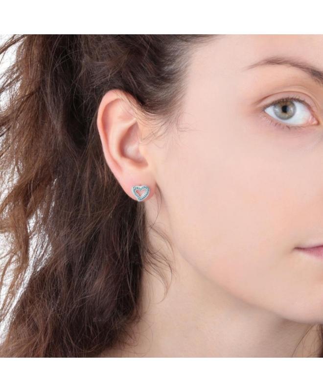 La Petite Story Stud earrings ss heart with blue crystal - galleria 2