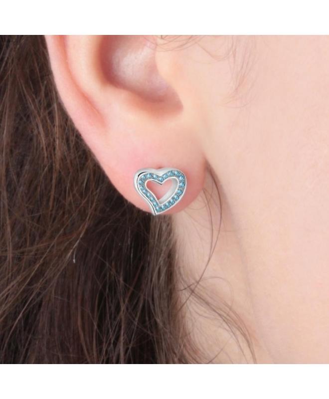 La Petite Story Stud earrings ss heart with blue crystal - galleria 3