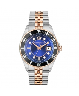 Philip Watch Caribe 42mm 3h blue dial br rg/ss