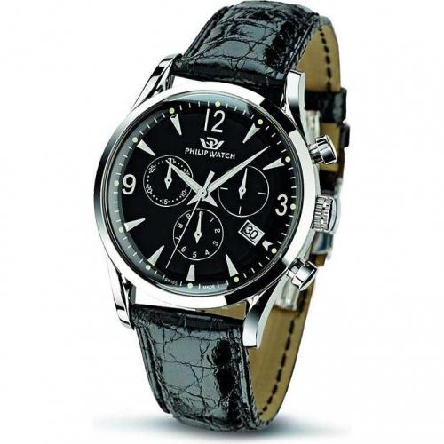 Philip Watch Sunray chr.black dial/black strap