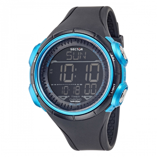 Orologio digitale Sector Ex-22 nero / blu 44 mm