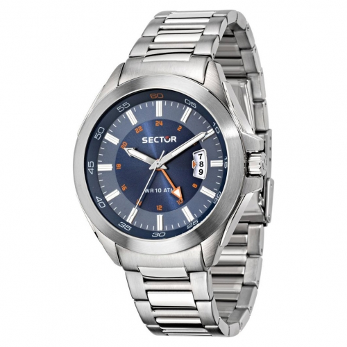 Orologio Sector 720 44mm gmt 3h blue dial br ss uomo R3253587001