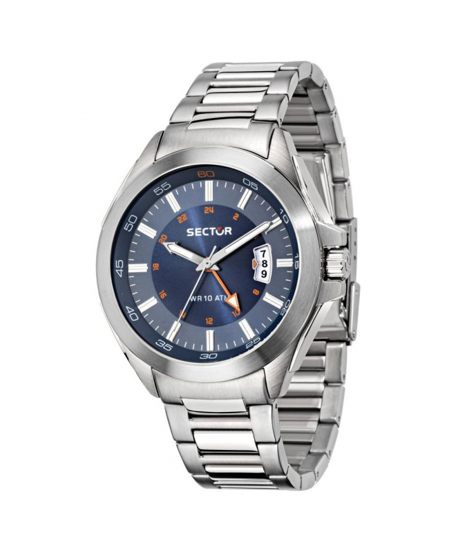 Orologio Sector 720 44mm gmt 3h blue dial br ss - galleria 1