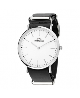 Chronostar Preppy gent 40mm 2h white dial black st