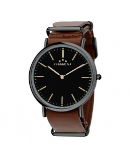Chronostar Preppy gent 40mm 2h black dial brown st