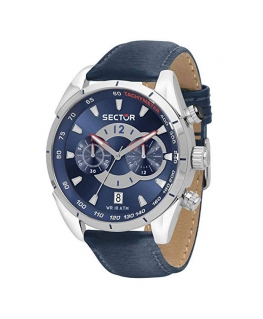 Orologio Sector 330 chrono pelle blu - 44 mm