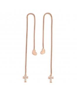 Orecchini Amen Abbracci argento oro rosa cuore croce