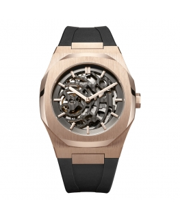 D1 MILANO Mod. SKELETON RUBBER ROSE GOLD AUTOMATIC
