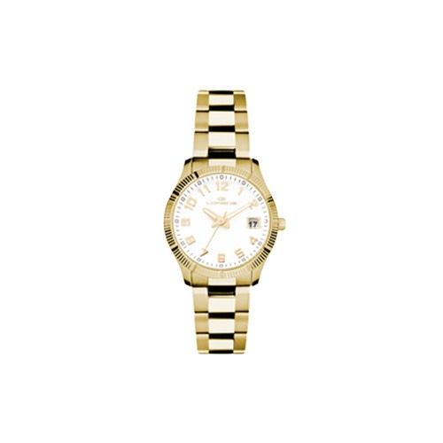 Orologio Lorenz donna data Ginevra dorato bianco