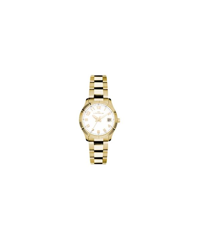 Orologio Lorenz donna data Ginevra dorato bianco - galleria 1