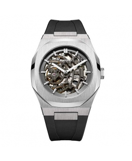D1 MILANO Mod. SILVER SKELETON RUBBER AUTOMATIC