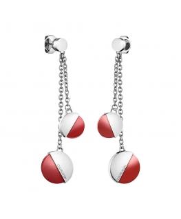 Orecchini Calvin Klein Spicy  silver / rosso - 6 cm