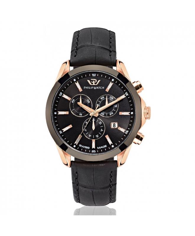 Philip Watch Blaze 41mm chr 6h black dial black strap - galleria 1