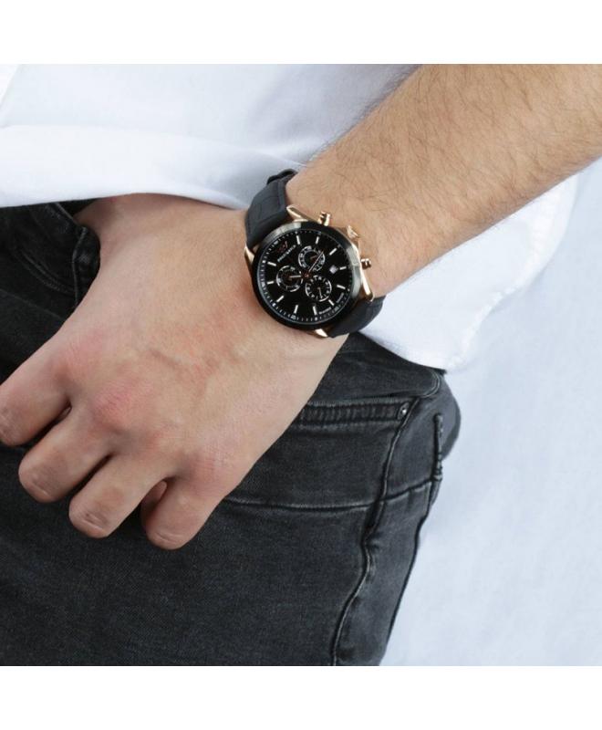 Philip Watch Blaze 41mm chr 6h black dial black strap - galleria 2