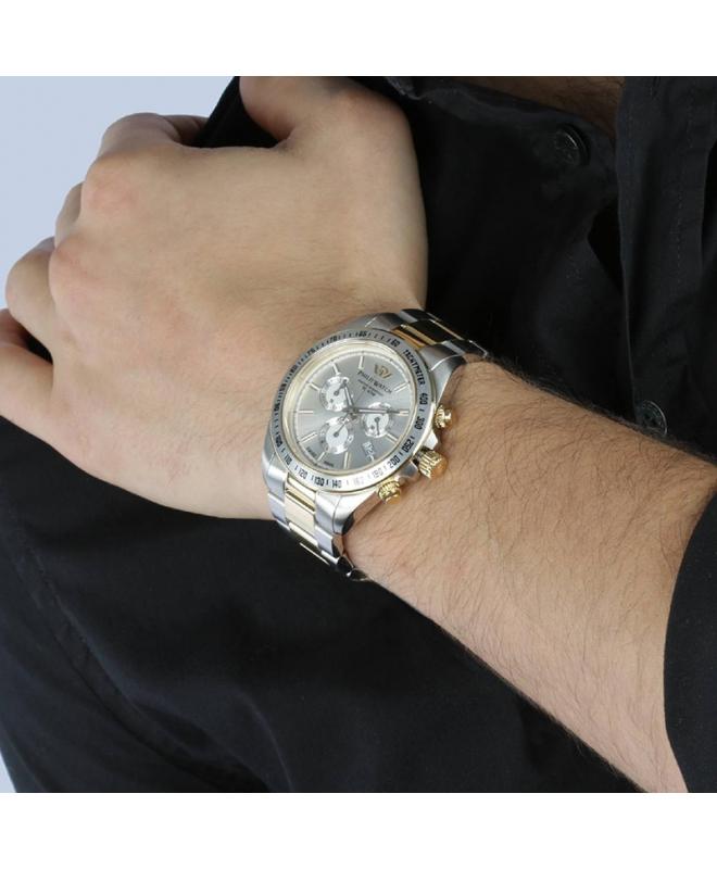 Philip Watch Caribe 42mm chr white/s dial brac ss+yg - galleria 2