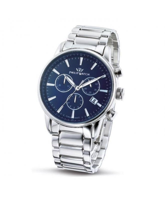 Philip Watch Kent chr blue dial/bracelet - galleria 1