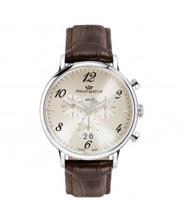 Philip Watch Truman chr 41mm ivory dial brown st
