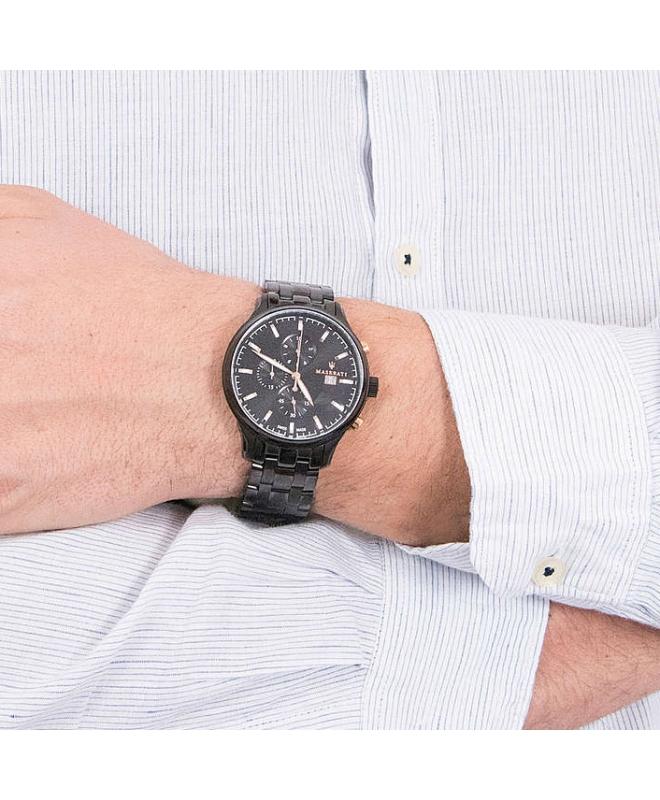Orologio Maserati Attrazione chrono nero acciaio - 43 mm uomo - galleria 2