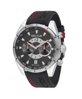 Sector 330 45mm chr black dial black strap
