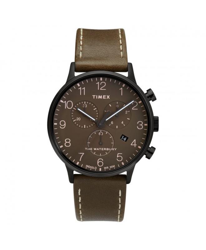 Orologio Timex Waterbury chrono pelle marrone - 42 mm - galleria 1