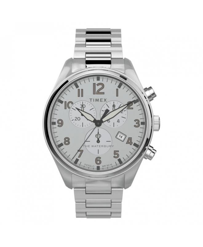 Orologio Timex Waterbury chrono acciaio bianco - 42 mm - galleria 1