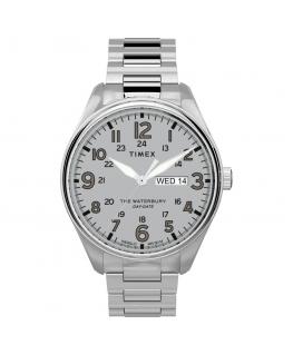 Orologio Timex Waterbury data acciaio bianco - 42 mm