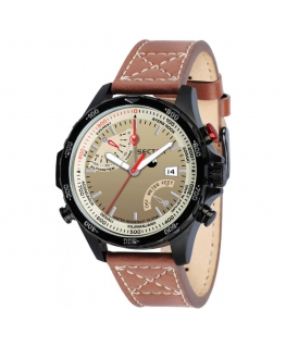 Sector Climbing watch 46mm beige dial brown st