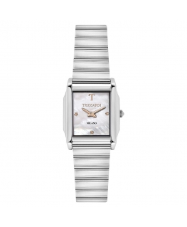 Trussardi T-geometric 2h white mop dial br ss