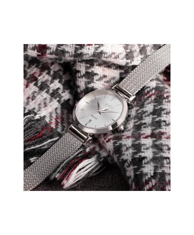 Trussardi T-exclusive 34mm 3h silver dial mesh ss - galleria 2