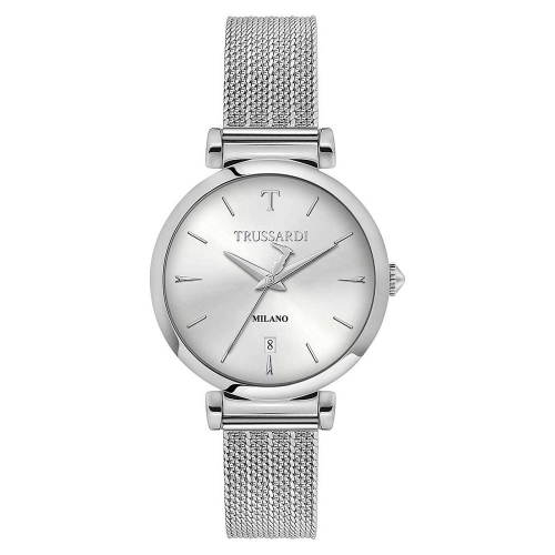 Trussardi T-exclusive 34mm 3h silver dial mesh ss