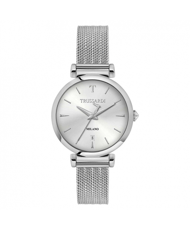 Trussardi T-exclusive 34mm 3h silver dial mesh ss - galleria 1